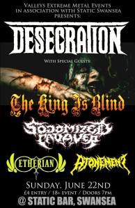 Desecration, The King Is Blind, Sodomized Cadaver, Etherian, Atonement